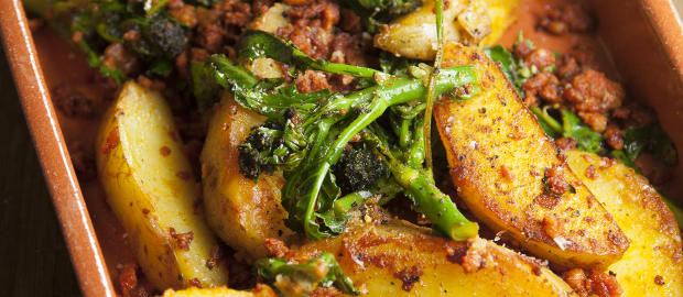 Purple Sprouting Broccoli with Chorizo and Potatoes