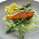 Roasted sea trout with asparagus velouté