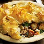 Mushroom, spinach, kale and sweet potato pie