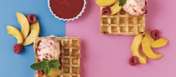 Waffles withPeachMelbaNice Cream