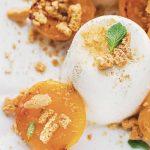 Almond Panna Cotta with Roasted Apricots &AmarettiCrumble