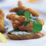 Goujons of Sole with Watercress Tartare Crostini