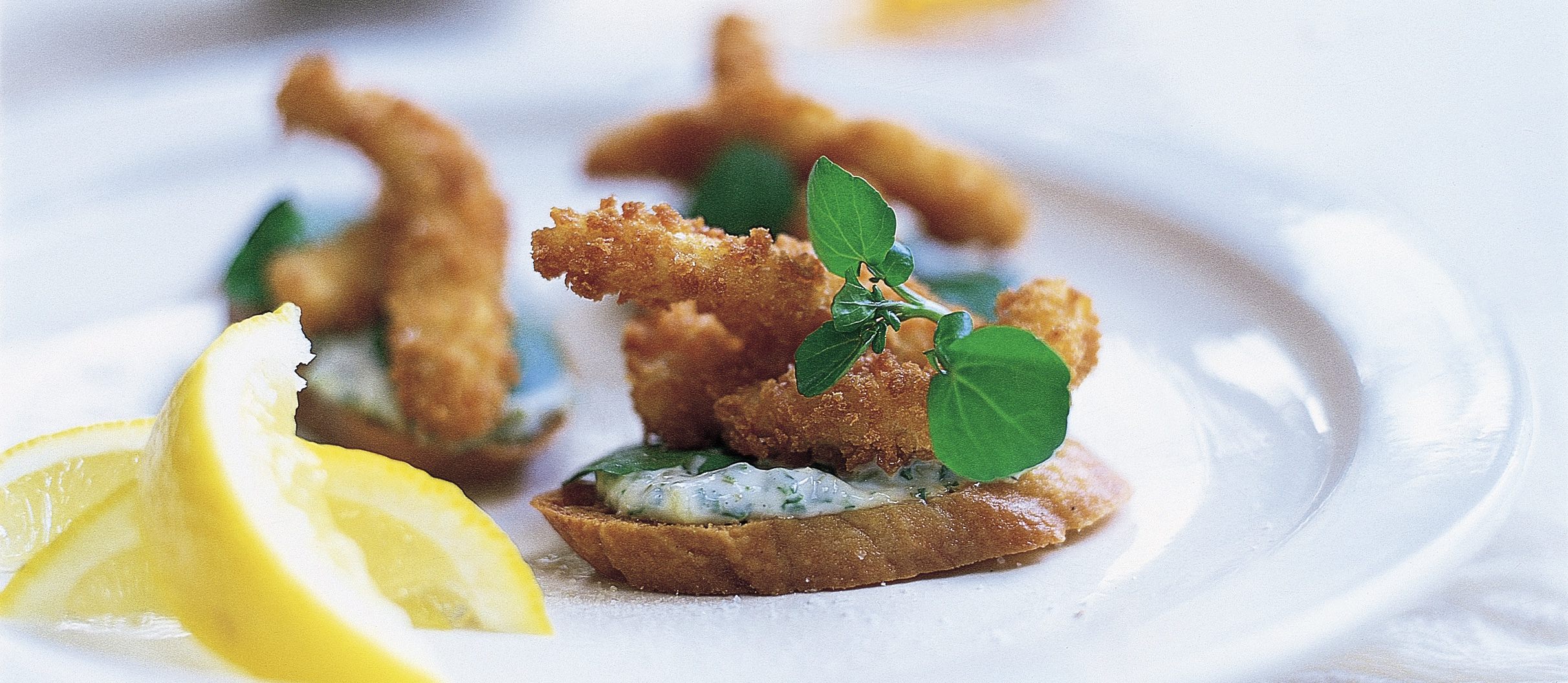 Goujons of sole with watercress tartar crostini