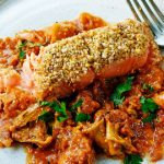 Pistachio-Crusted Salmon with Tomatoes