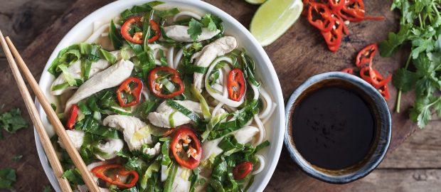 Leftover Turkey Pho with Greens & Udon Noodles