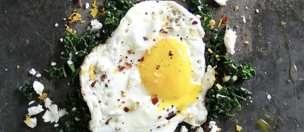 Fried egg with cavolo nero