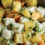 Swede, Celeriac & Carrots Braised in Olive Oil