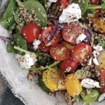 Warm Quinoa Salad with Roasted Veg & Cherry Tomatoes