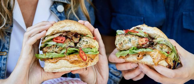 Chicken Burgers with Maple-chipotle Mayonnaise & Pickled Cucumber